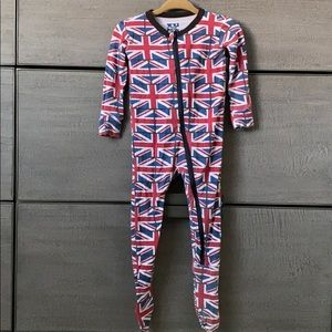 Kickee Pant 9-12 mo zip footie in British flag